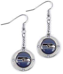 Seattle Seahawks Crystal Dangle Logo Earrings with J-Hook Posts