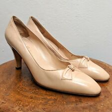Vintage 1970s Bruno Magli Bologna Italy Nude Beige Leather Heels Shoes (Size 8)