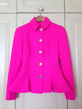TED BAKER hot pink peplum jacket dress coat full skirt fit & flare asos 0 6 BNWT