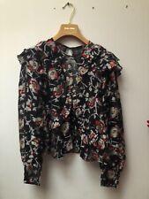 Isabel Marant Black Sheer Silk Floral Blouse Size 38