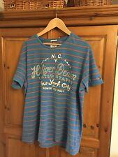 Mens Tommy Hilfiger Stripe T-shirt Size Large Logo Front