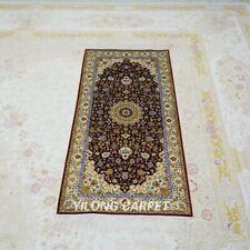 YILONG 2'x4' Red Handwoven Silk Carpet Home Gallery Rug Runner Hallway TJ144A