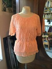 Vintage Htf Peach Bohemian Festival Hippie Crochet Tunic Top L