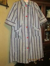 Ladies Vintage Queenland Red White & Blue House Dress Sanforized Made In Usa