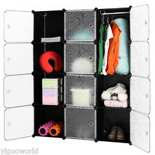 Portable Closet Storage Organizer Clothes Wardrobe Shoe Rack  12 Cube Shelves US