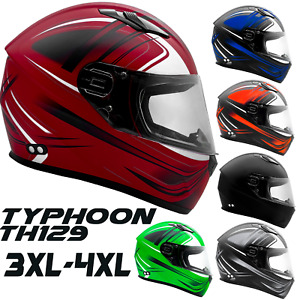 Adult Full Face Motorcycle Helmet DOT Green Blue Orange Gray Black Red 3XL 4XL