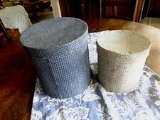 Antique Blue/White Cloth Covered 2 Round Boxes Wallpaper ? Hat Box Pantry Box