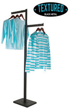 2 Way Clothing Display Rack Straight Arms Textured Black Finish