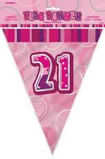 Glitz Pink 21st Birthday Bunting Flag Decoration Banner 3.65m (12')   .55293