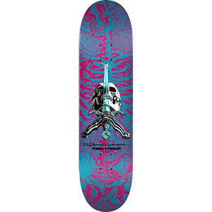 "Powell Peralta Skateboard Deck Skull and Sword Pink/Blue 8.75"" x 32.95"""