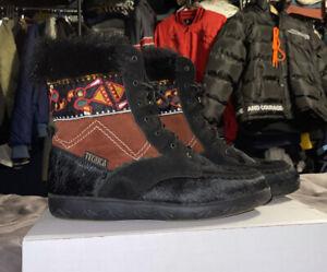 Tecnica Womens Vtg Apres Ski Boots Made Italy Black 41 34 8  Navajo Design Fur