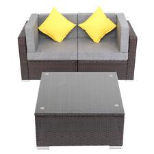 3PCS Patio PE Wicker Rattan Corner Sofa Set Garden Furniture Chair Cushion Table