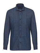 Ermenegildo Z ZEGNA Blue Denim Look Slim Pleated Bib Cotton Shirt XXL RRP: £225