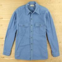 vtg usa made LL BEAN chamois camp flannel shirt 17 / LARGE blue distressed