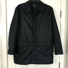 Hugo Boss Mens Calcon Button Down Lined Jacket Over Coat Black Sz 40R