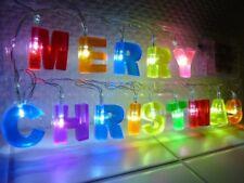 LED Lichterkette Merry Christmas bunte Buchstaben beleuchte Fenster Dekoration