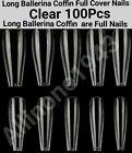 100Pc Long Ballerina Coffin Full Cover Artificial False Nail Tips Press on Nails