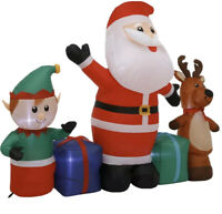 6.5' Santa Friends Elf Reindeer Gemmy Christmas Airblown Inflatable Present Gift