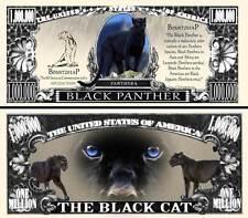 PANTHERE NOIRE BILLET MILLION DOLLAR US! LEOPARD PANTHERA Black Félin Cat Animal