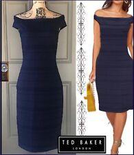 Ted Baker Dark Blue Stripe Texture Off the Shoulders Bardot Dress Sz 8 $295