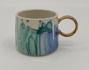Anthropologie Coffee Mug Night Sky Aqua & Blue Watercolour Gold Star Accent
