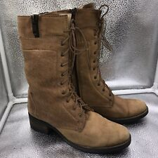 Steve Madden Sz 6.5 39.5 Tan Leather Victorian Laced Boots Steampunk Womens