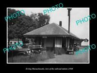 OLD LARGE HISTORIC PHOTO OF ERVING MASSACHUSETTS THE RAILROAD STATION c1940