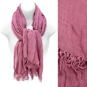 Scarf Pink Cotton Frayed Edge Fringe Large Wrap Shawl Fashion Accessory