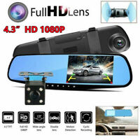 4.3'' HD Dual Lens Car DVR Dash Cam Front & Rear Mirror Camera Video Recorder