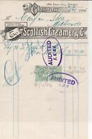 Scottish Creamery Co. Glasgow 1906 Audited Cancels Stamps Receipt Ref 39287