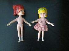 """2 Rare Brunette Blond Vintage Doll Miss Merry Hasbro Hong Kong Mary 4"""" Tall 60's"""