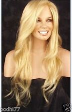 New Long 32'' Wavy Skin Part Top Golden&Blonde Like Real Human hair Wig + Gift