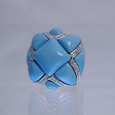 Sterling Silver & Cubic Zirconia Cocktail Ring Size 7 Turquoise Color