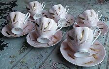 Rare Antique (1920s) Pink Queen Anne English Bone China Gold Gilded Tea Set