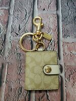 NWT Coach Pic Frame Bag Key Fob Bag Charm in Signature Canvas 77675