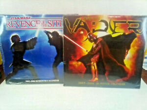Star Wars 2005-2006 18-Month Calender Lot of 2 Revenge Of The Sith & Darth Vader