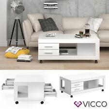 VICCO Couchtisch BRUNO 120x65cm mit Schublade Weiß Wohnzimmertisch