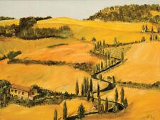 Strada toscana Keilrahmen-Bild Leinwand Toskana bunt Landschaft Luigi Florio