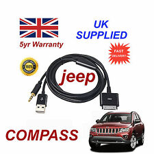 JEEP MULTIMEDIALE Adattatore iPhone 3GS 4 4S IPOD USB & 3.5MM AUX Cavo NERO