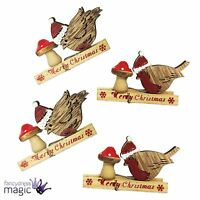 Set 4 Robin Bird Merry Christmas Xmas Wooden Pegs Clip Card Decoration Gift Tag