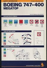 SIA SINGAPORE AIRLINES Boeing B 747 400 Airline SAFETY CARD air brochure ee e466