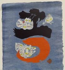 "Kichiuemon Okamura ""Abstraction (blue w/birds)"" 1979"