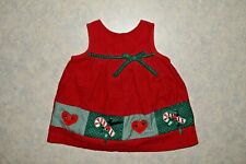 Girls 18 month Rare Editions Corduroy Jumper Dress Candy Cane & Hearts