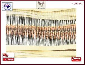 25 Pcs 100K Ohm 1/4 W Resistor Axial Carbon Film 0.5W 5% [A4H~A1]