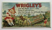 VINTAGE WRIGLEY'S DOUBLE MINT CHEWING GUM PAINTED TIN ADVERTISING SIGN USA
