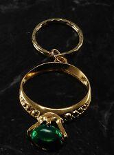 Vintage Green ENamel Giant Ring Fashion Gold Tone Key Chain Metal Key Fob