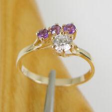 Round CZ & Natural Amethyst Gemstone High  Claws Ring Genuine 375 9k Yellow Gold