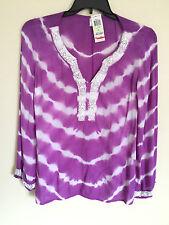 NWT INC Beach Women's Embellished V Neck Viscose Tunic Top Purple Size 8  $89 C3