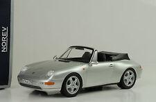1995 Porsche 911 993 Cabriolet Cabrio with roof silver silber 1:18 Norev