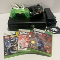 Microsoft Xbox 360 S 4GB Console Bundle W/ 3 Games, Controllers  Cables *TESTED*